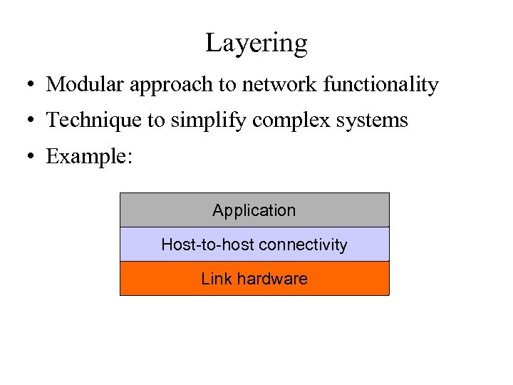 Layering • Modular approach to network functionality • Technique to simplify complex systems •