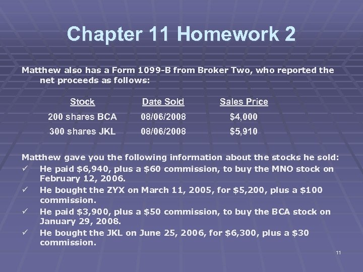 Chapter 11 Homework 2 Matthew also has a Form 1099 -B from Broker Two,