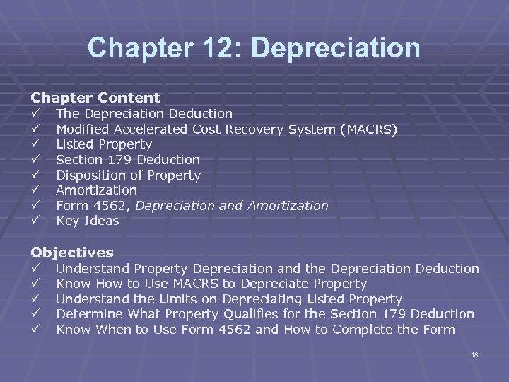 Chapter 12: Depreciation Chapter Content ü ü ü ü The Depreciation Deduction Modified Accelerated