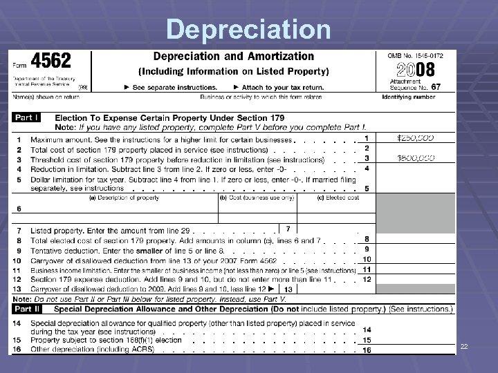 Depreciation 22