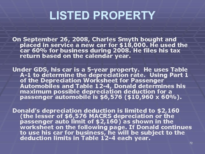 LISTED PROPERTY On September 26, 2008, Charles Smyth bought and placed in service a