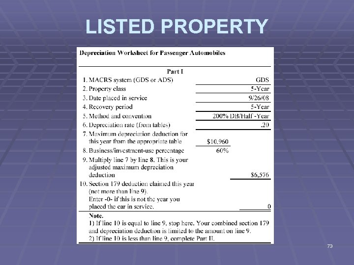 LISTED PROPERTY 73