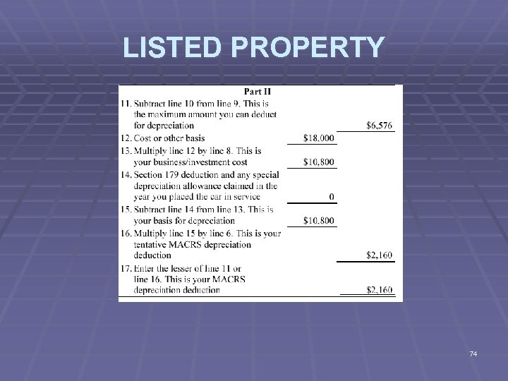 LISTED PROPERTY 74