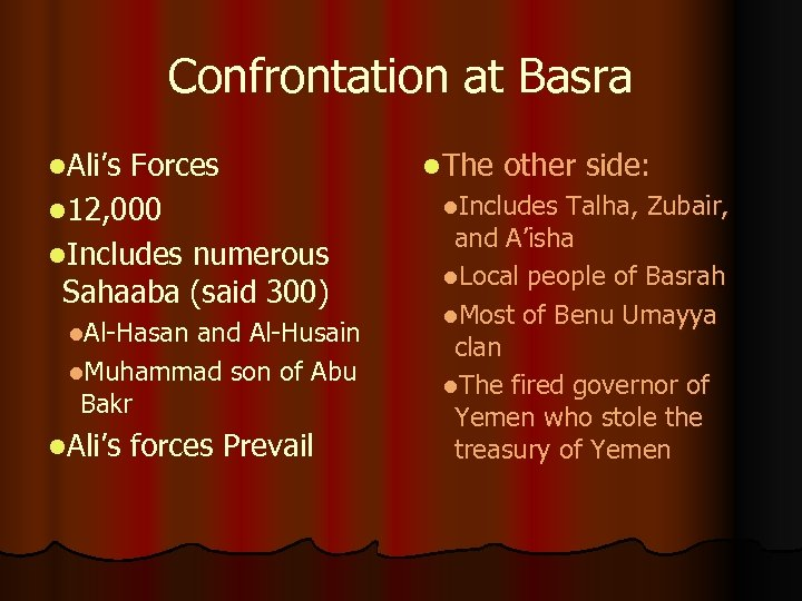 Confrontation at Basra l. Ali's Forces l 12, 000 l. Includes numerous Sahaaba (said