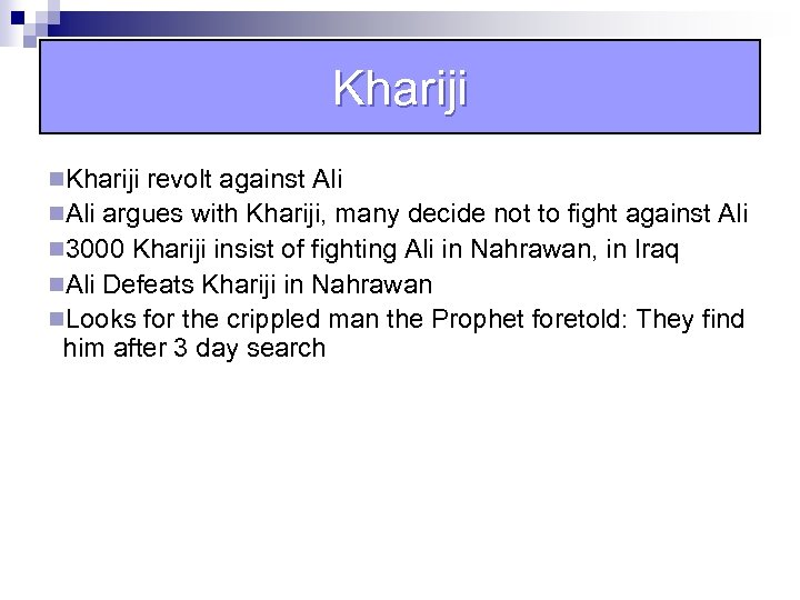 Khariji n. Khariji revolt against Ali n. Ali argues with Khariji, many decide not
