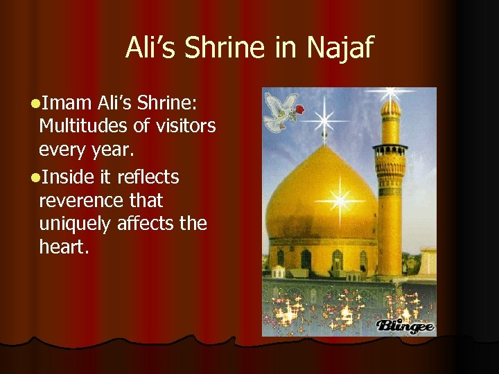 Ali's Shrine in Najaf l. Imam Ali's Shrine: Multitudes of visitors every year. l.