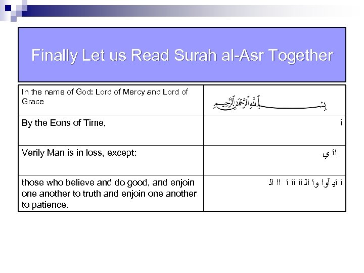 Finally Let us Read Surah al-Asr Together In the name of God: Lord of