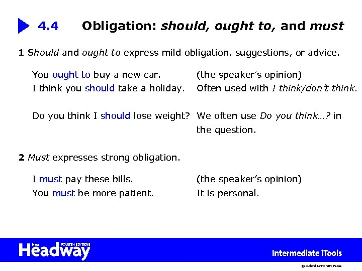 4. 4 Obligation: should, ought to, and must 1 Should and ought to express