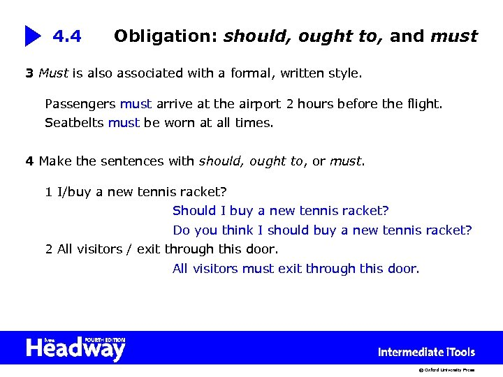 4. 4 Obligation: should, ought to, and must 3 Must is also associated with