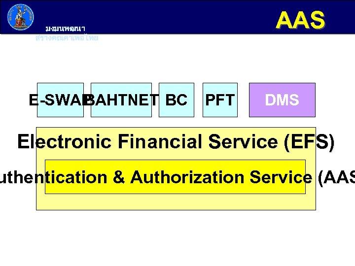 AAS มงมนพฒนา สรางคณคาเพอไทย E-SWAP BAHTNET BC PFT DMS Electronic Financial Service (EFS) uthentication &