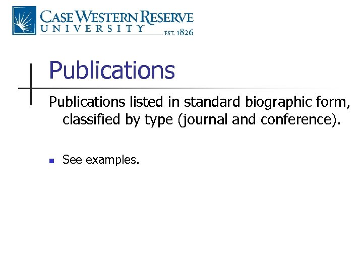 Publications listed in standard biographic form, classified by type (journal and conference). n See