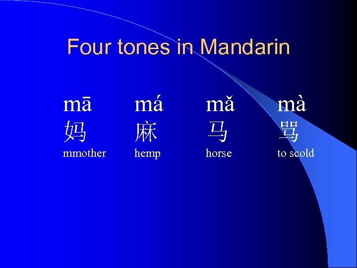 Four tones in Mandarin mā 妈 má 麻 mǎ 马 mà 骂 mmother hemp