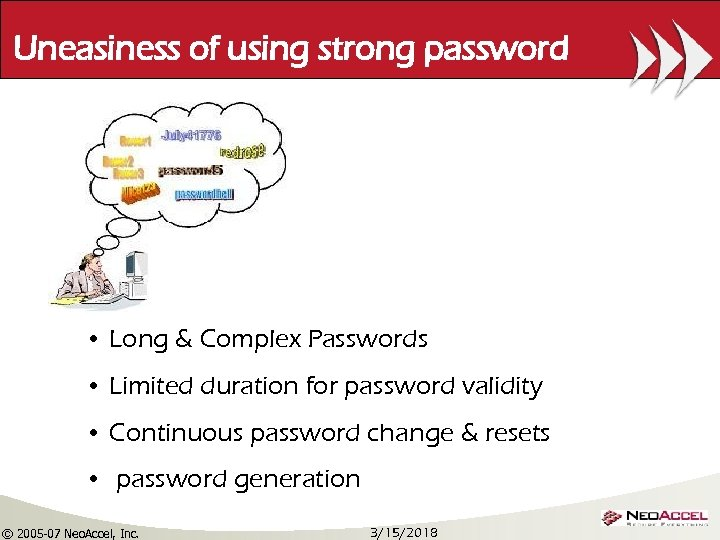 Uneasiness of using strong password • Long & Complex Passwords • Limited duration for