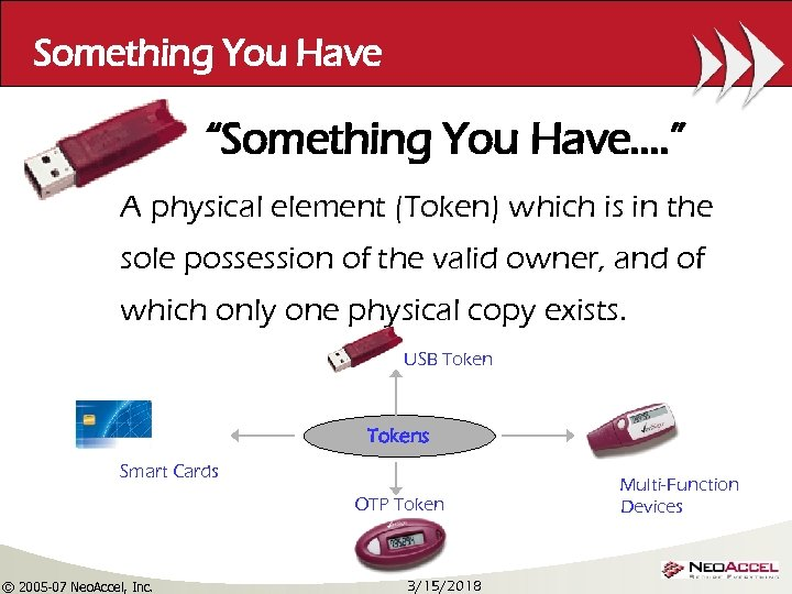 "Something You Have ""Something You Have…. "" A physical element (Token) which is in"