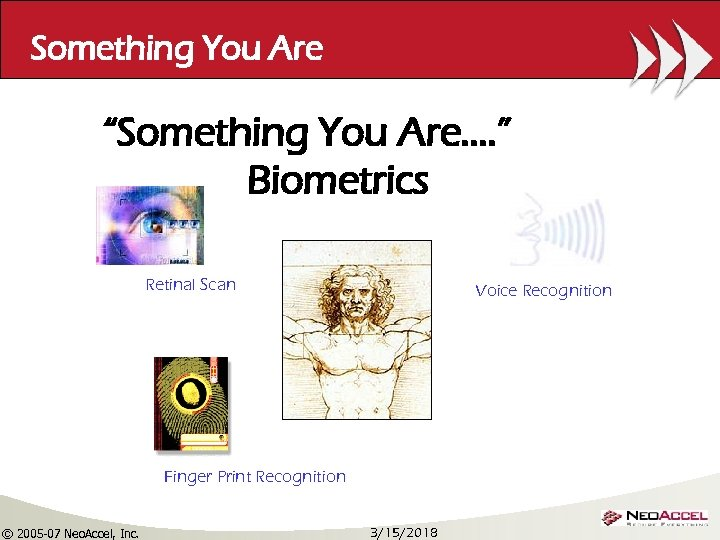 "Something You Are ""Something You Are…. "" Biometrics Retinal Scan Voice Recognition Finger Print"
