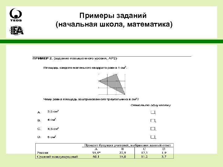 Примеры заданий (начальная школа, математика)