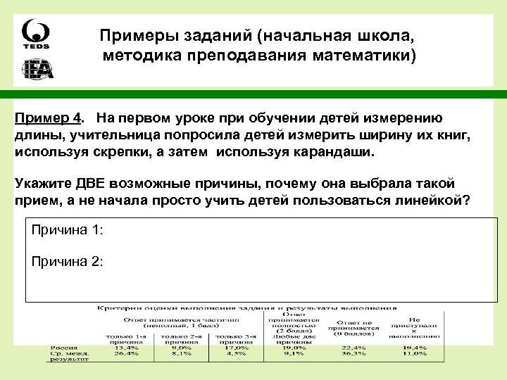 Примеры заданий (начальная школа, методика преподавания математики) Пример 4. На первом уроке при обучении