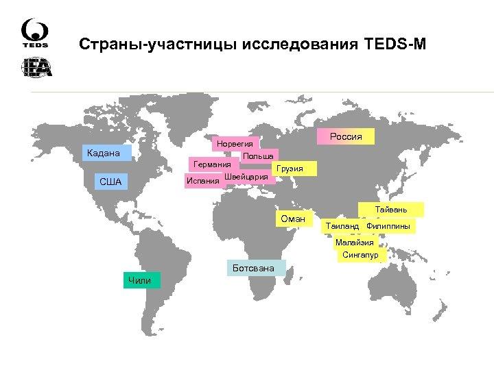 Страны-участницы исследования TEDS-M Норвегия Польша Германия Грузия Швейцария Испания Кадана США Оман Россия Тайвань
