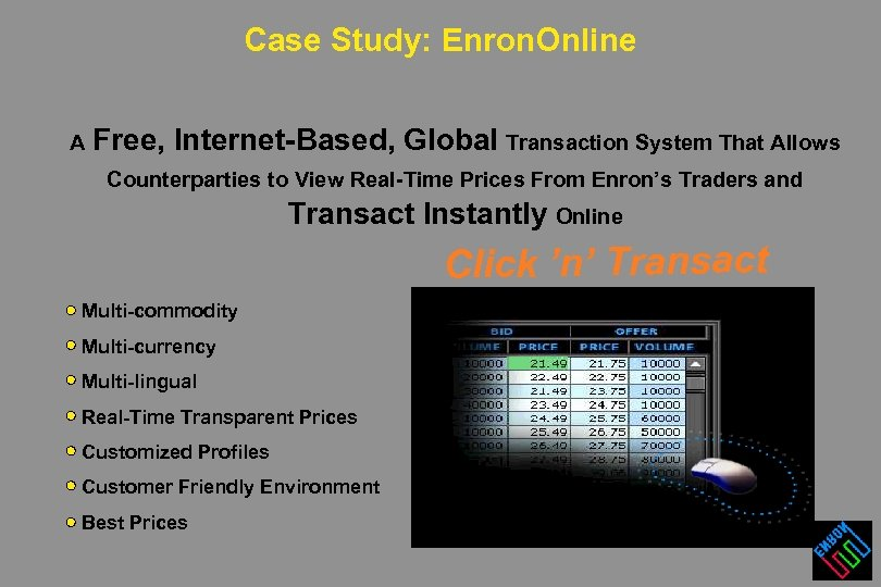 Case Study: Enron. Online A Free, Internet-Based, Global Transaction System That Allows Counterparties to
