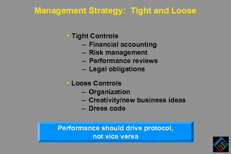 Management Strategy: Tight and Loose Tight Controls – Financial accounting – Risk management –