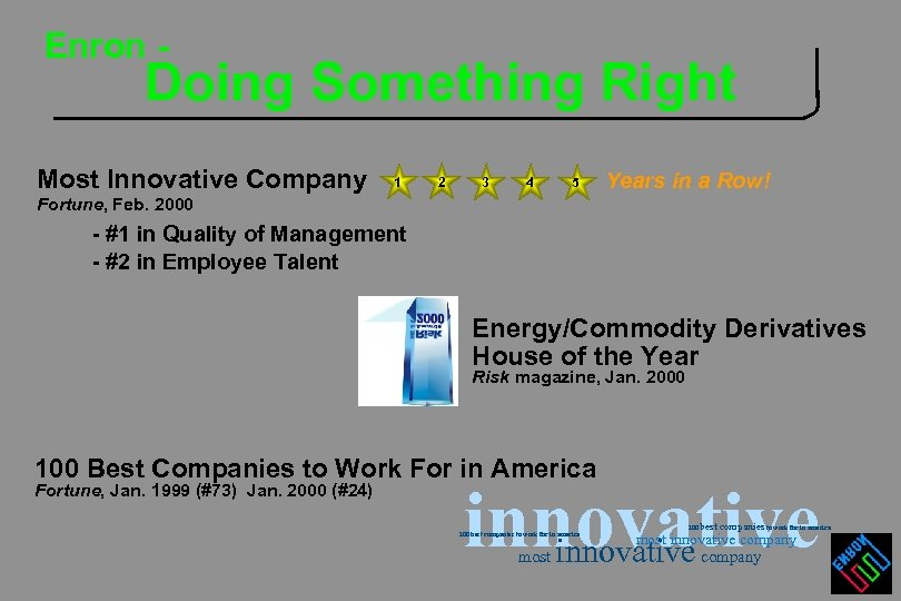 Enron - Doing Something Right Most Innovative Company 1 2 3 4 5 Years