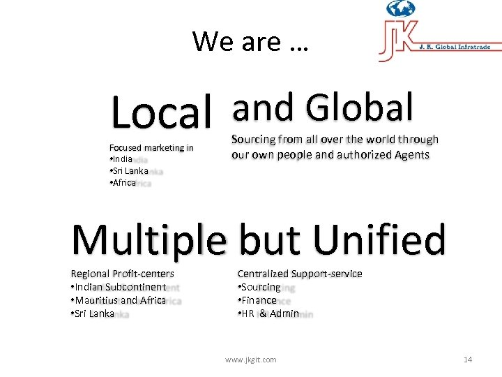 We are … Local and Global Focused marketing in • India • Sri Lanka