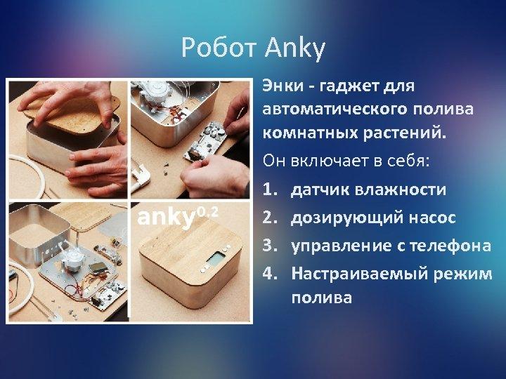Робот Anky Энки - гаджет для автоматического полива комнатных растений. Он включает в себя: