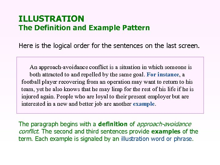 ILLUSTRATION The Definition and Example Pattern Here is the logical order for the sentences