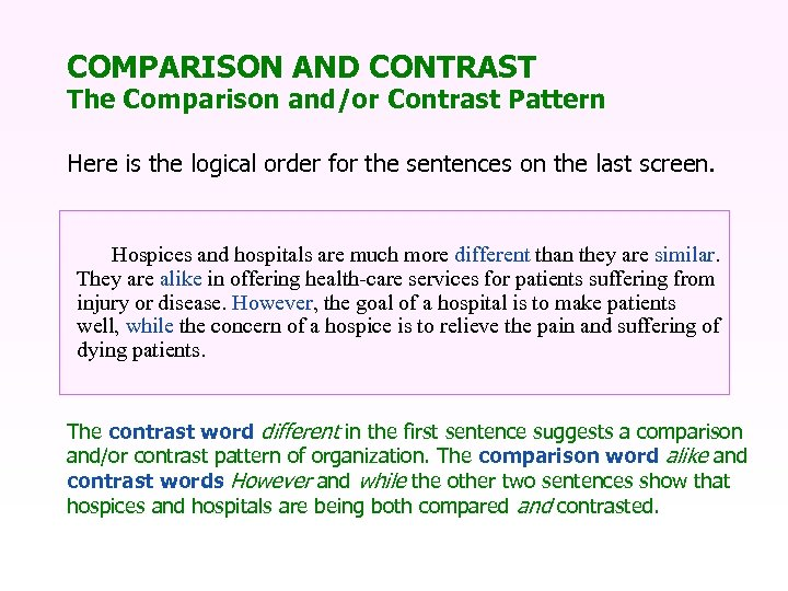 COMPARISON AND CONTRAST The Comparison and/or Contrast Pattern Here is the logical order for