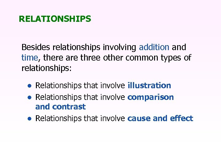 RELATIONSHIPS Besides relationships involving addition and time, there are three other common types of