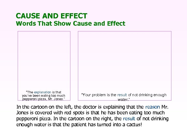 """CAUSE AND EFFECT Words That Show Cause and Effect """"The explanation is that you've"""
