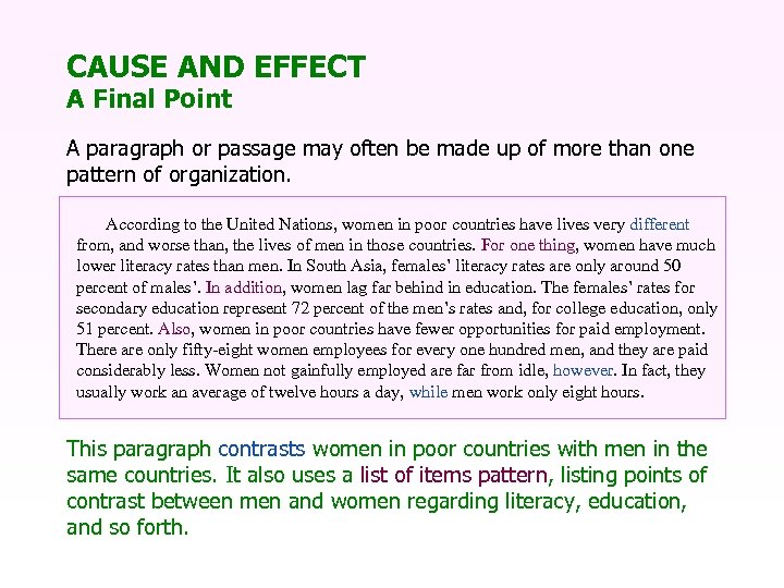 CAUSE AND EFFECT A Final Point A paragraph or passage may often be made
