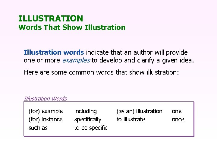ILLUSTRATION Words That Show Illustration words indicate that an author will provide one or