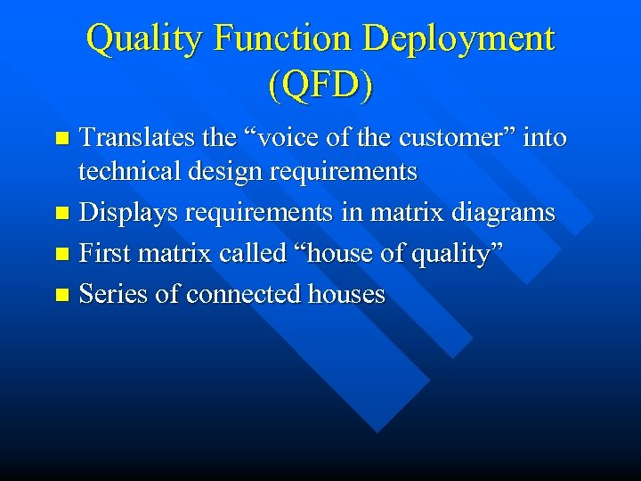 "Quality Function Deployment (QFD) Translates the ""voice of the customer"" into technical design requirements"
