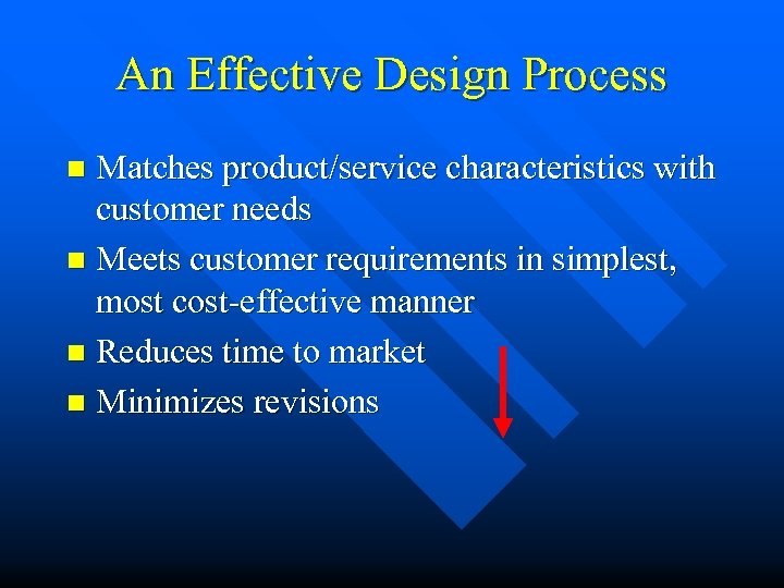 An Effective Design Process Matches product/service characteristics with customer needs n Meets customer requirements