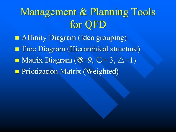 Management & Planning Tools for QFD Affinity Diagram (Idea grouping) n Tree Diagram (Hierarchical