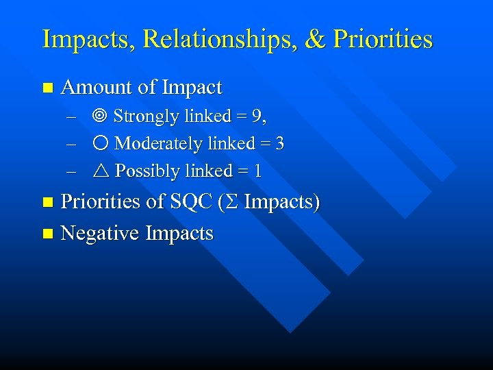 Impacts, Relationships, & Priorities n Amount of Impact – Strongly linked = 9, –