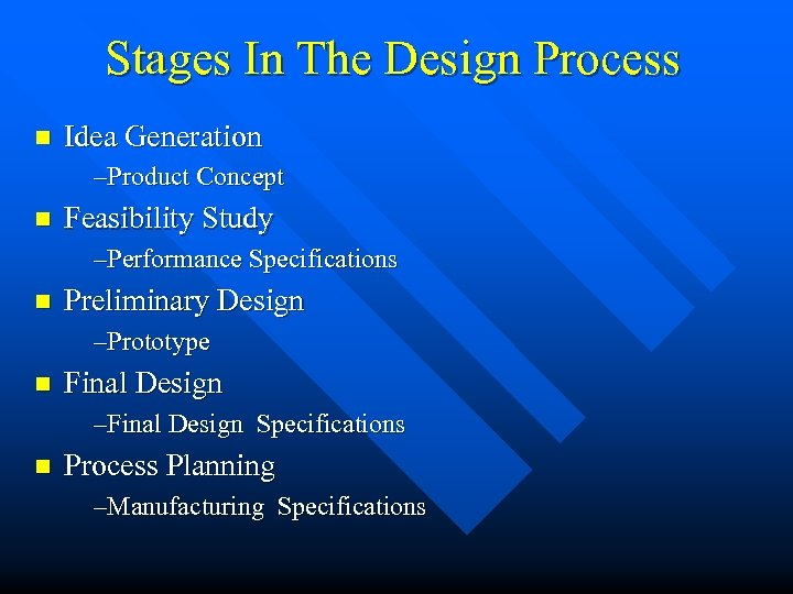 Stages In The Design Process n Idea Generation –Product Concept n Feasibility Study –Performance
