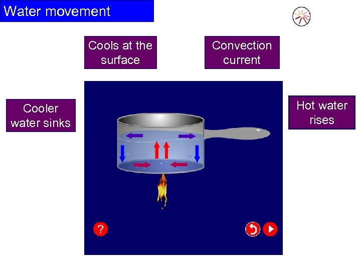 Water movement Cools at the surface Cooler water sinks Convection current Hot water rises