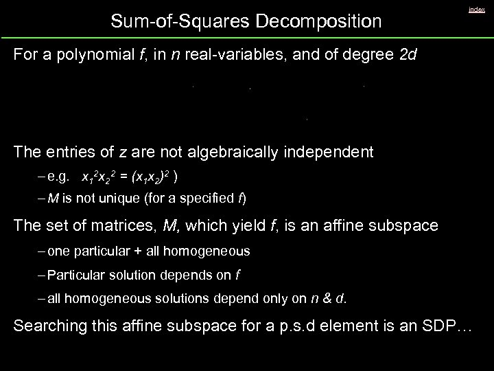 Sum-of-Squares Decomposition index For a polynomial f, in n real-variables, and of degree 2