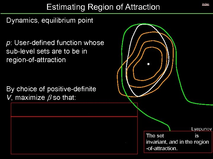 Estimating Region of Attraction index Dynamics, equilibrium point p: User-defined function whose sub-level sets