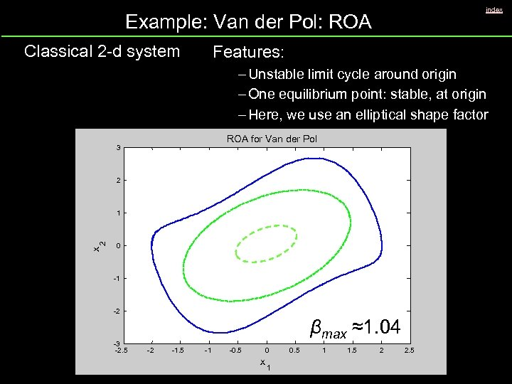 index Example: Van der Pol: ROA Classical 2 -d system Features: – Unstable limit