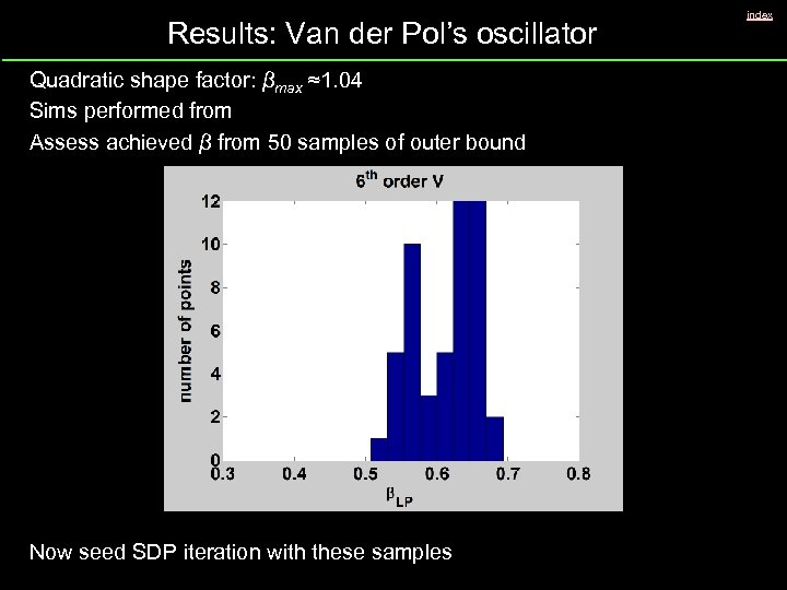 Results: Van der Pol's oscillator Quadratic shape factor: βmax ≈1. 04 Sims performed from