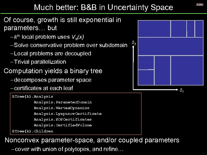 index Much better: B&B in Uncertainty Space Of course, growth is still exponential in