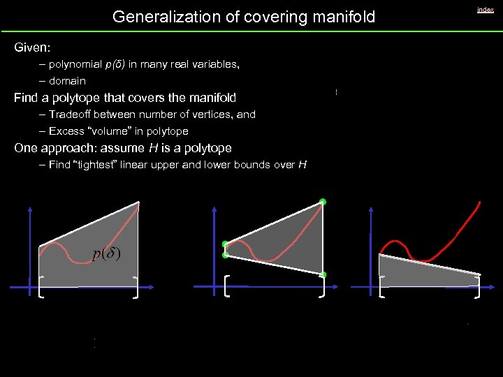 Generalization of covering manifold Given: – polynomial p(δ) in many real variables, – domain