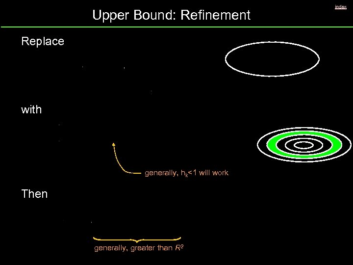Upper Bound: Refinement Replace with generally, hk<1 will work Then generally, greater than R