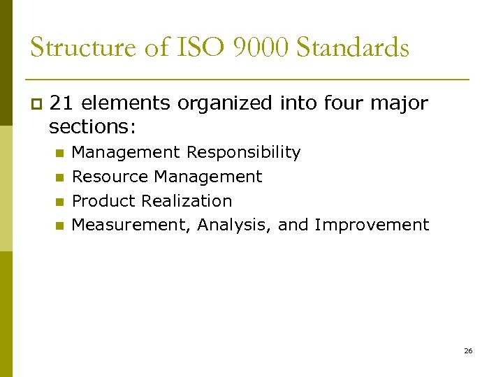 Structure of ISO 9000 Standards p 21 elements organized into four major sections: n