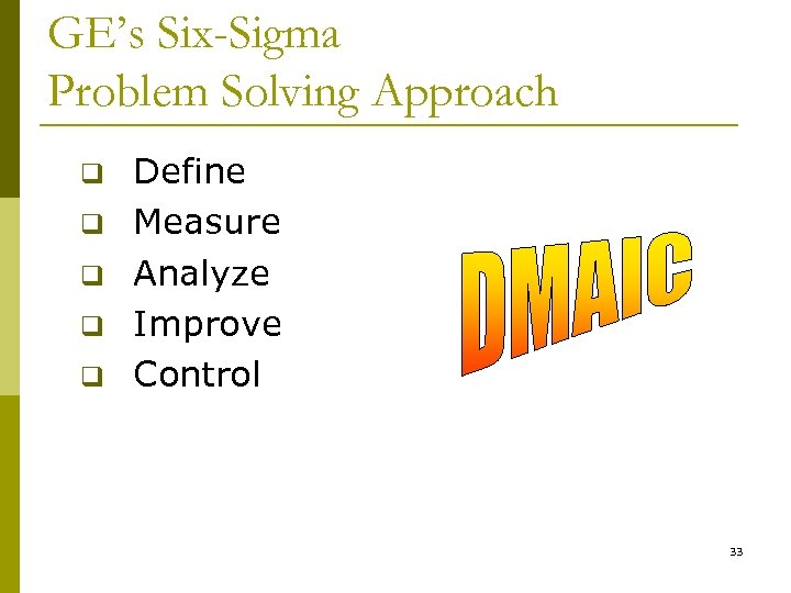 GE's Six-Sigma Problem Solving Approach q q q Define Measure Analyze Improve Control 33