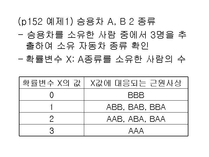 (p 152 예제 1) 승용차 A, B 2 종류 - 승용차를 소유한 사람 중에서