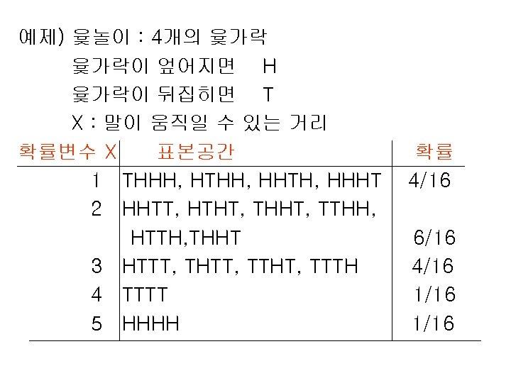 예제) 윷놀이 : 4개의 윷가락이 엎어지면 H 윷가락이 뒤집히면 T X : 말이 움직일